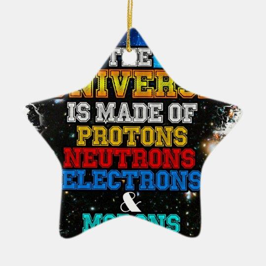 Das Universum wird von den Protonen, Neutronen Keramik Stern-Ornament