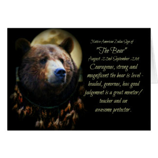 Das Ureinwohner-Tierkreis-Zeichen des Bären Karte