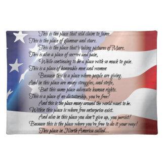 Das USA-Flaggen-Poesie-Kunst-Plakat Stofftischset