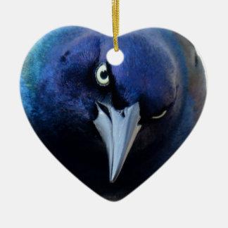 Das verärgerte Grackle Keramik Herz-Ornament