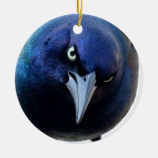 Das verärgerte Grackle Rundes Keramik Ornament