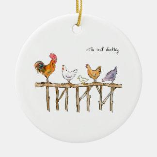 Das verlorene Entlein, die Hühner und das Entlein Keramik Ornament
