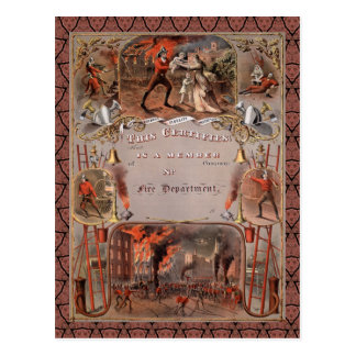 Das Vintage Zertifikat des Feuerwehrmannes Postkarte