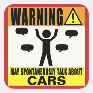 Das Warnen kann über Autos spontan sprechen Quadratischer Aufkleber