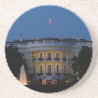 Das Weihnachts Weiße Haus nachts im Washington DC Sandstein Untersetzer