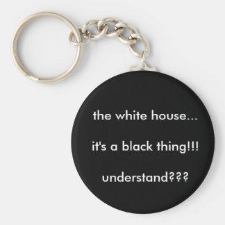 das weiße Haus… ist es eine schwarze Sache!!! unde Standard Runder Schlüsselanhänger