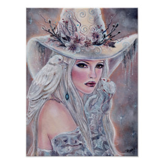 Das weiße Hexeplakat mit Raben durch Renee Lavoie Poster