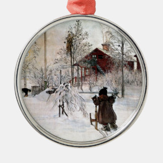 Das Yard und der Wäsche-House, Carl Larsson Silbernes Ornament