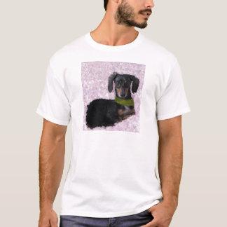 Daschund Dackelhunderosa-Grünphantasie T-Shirt