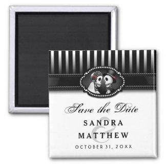 Date noire et blanche d'économies de rayure de magnet carré