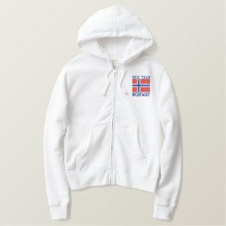 Datierte kundengerechte norwegische Flagge TEAM Bestickter Damen Reißverschluss Hoodie