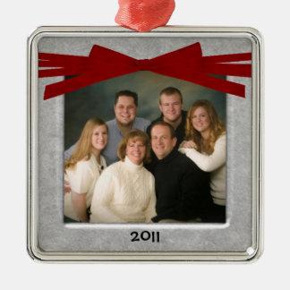Datierte personalisierte Foto-Weihnachtsverzierung Quadratisches Silberfarbenes Ornament