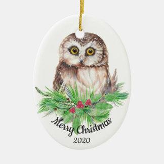 Datierter Weihnachtsbrauch-Aquarell-Eulen-Vogel Keramik Ornament