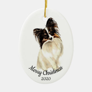 Datierter Weihnachtsbrauch-Aquarell Papillon Hund Keramik Ornament