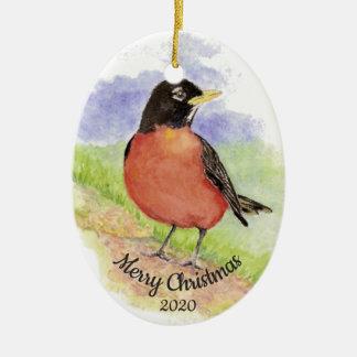 Datierter Weihnachtsbrauch-Aquarell-Robin-Vogel Keramik Ornament