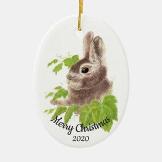 Datiertes Weihnachtsbrauch-Aquarell-Häschen Keramik Ornament
