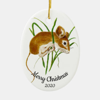 Datiertes Weihnachtsbrauch-Aquarell-Mäusetier Keramik Ornament