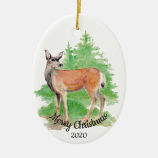 Datiertes Weihnachtsbrauch-Aquarell-Rotwild-Tier Keramik Ornament