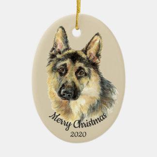 Datiertes Weihnachtsbrauch-Aquarell-Schäferhund Keramik Ornament