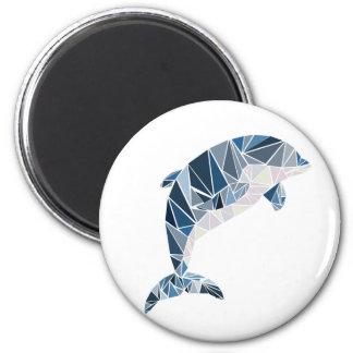 Dauphin géométrique magnet rond 8 cm