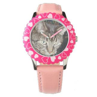 Daves, der Sie Einfassung mit rosa Zahl-Uhr Uhr