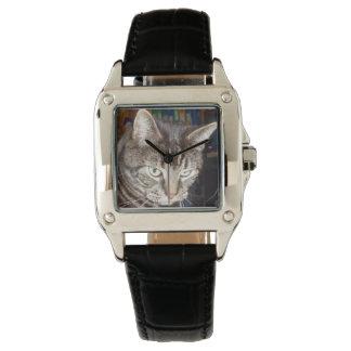 Daves, der Sie perfektes Quadrat-Leder-Uhr Uhr