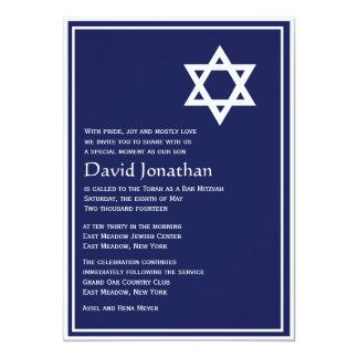Davidsstern Bar Mitzvah Einladungs-glänzenden 12,7 X 17,8 Cm Einladungskarte
