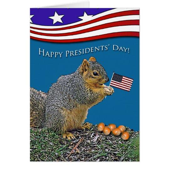 Day lustiger Präsidenten, Eichhörnchen mit Flagge Grußkarte