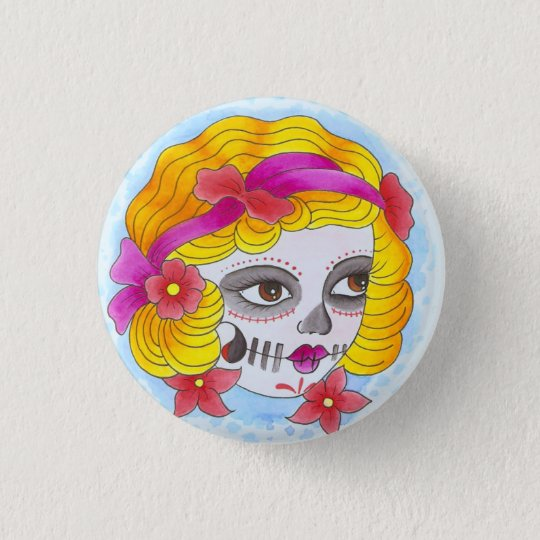 day of the dead runder button 3,2 cm
