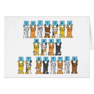 Dayglücklichen Doktors spaßkatzen in den Verbänden Karte