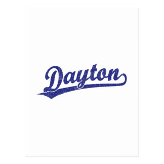 Dayton-Skriptlogo im Blau Postkarte
