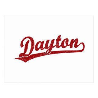 Dayton-Skriptlogo im Rot Postkarte