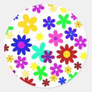 ~ de FLOWER POWER (a choisi une couleur d'arrière Adhésif Rond