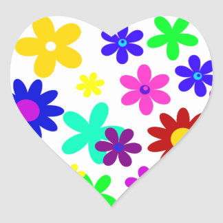 ~ de FLOWER POWER (a choisi une couleur d'arrière Autocollants En Cœur