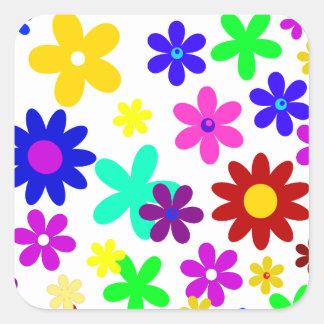 ~ de FLOWER POWER (a choisi une couleur d'arrière Stickers Carrés