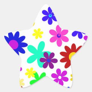 ~ de FLOWER POWER (a choisi une couleur d'arrière Autocollants En Étoile