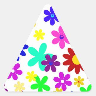 ~ de FLOWER POWER (a choisi une couleur d'arrière Autocollants En Triangle