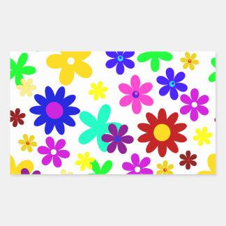 ~ de FLOWER POWER (a choisi une couleur d'arrière Sticker En Rectangle