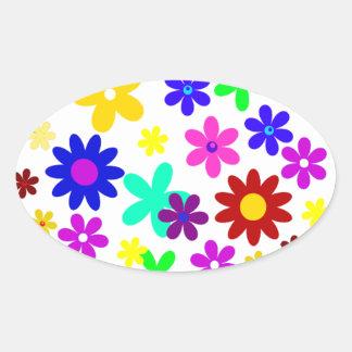 ~ de FLOWER POWER (a choisi une couleur d'arrière Autocollant Ovale