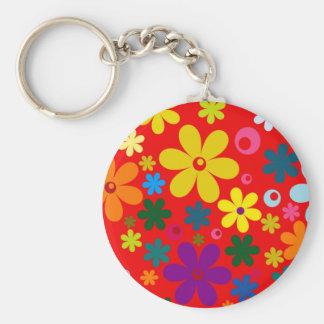 ~~ de FLOWER POWER (une rétro conception florale Porte-clé Rond