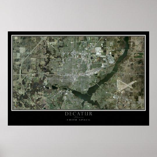 Decatur Illinois von der Raum-Satelliten-Karte Poster