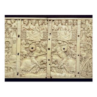 Deckel einer Schatulle, die ein Turnier darstellt Postkarte