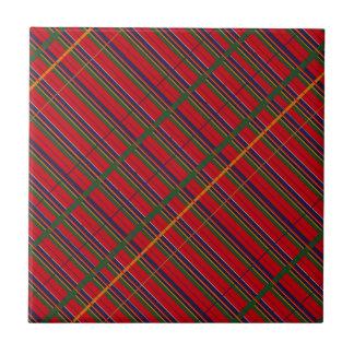 Decken Sie rotes blaues Grün Vintagen tartain Kleine Quadratische Fliese