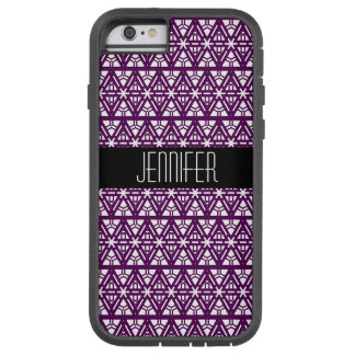 Deep Purple und weißes geometrisches Tough Xtreme iPhone 6 Hülle