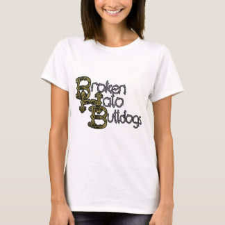 Defekter Halo-Bulldoggen-Text T-Shirt