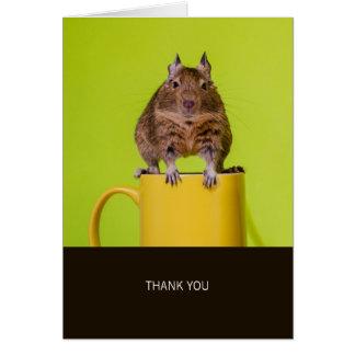 Degu auf gelber Schale danken Ihnen Karte