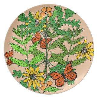 Dekorative botanische Platte Teller