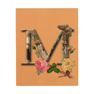 "Dekorative Buchstabe-Initiale ""M"" Holzleinwand"