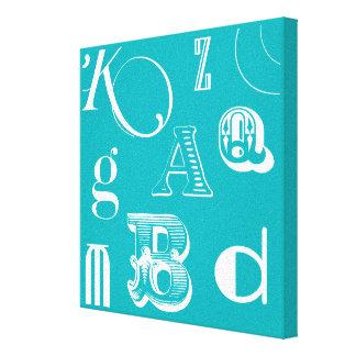 Dekorative Buchstaben auf blauem Hintergrund Leinwanddruck