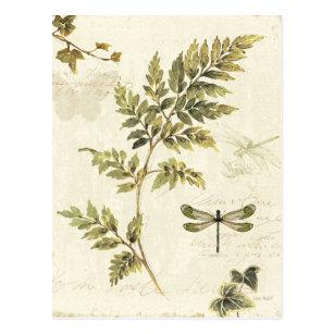 Dekorative Farne und eine Libelle Postkarte